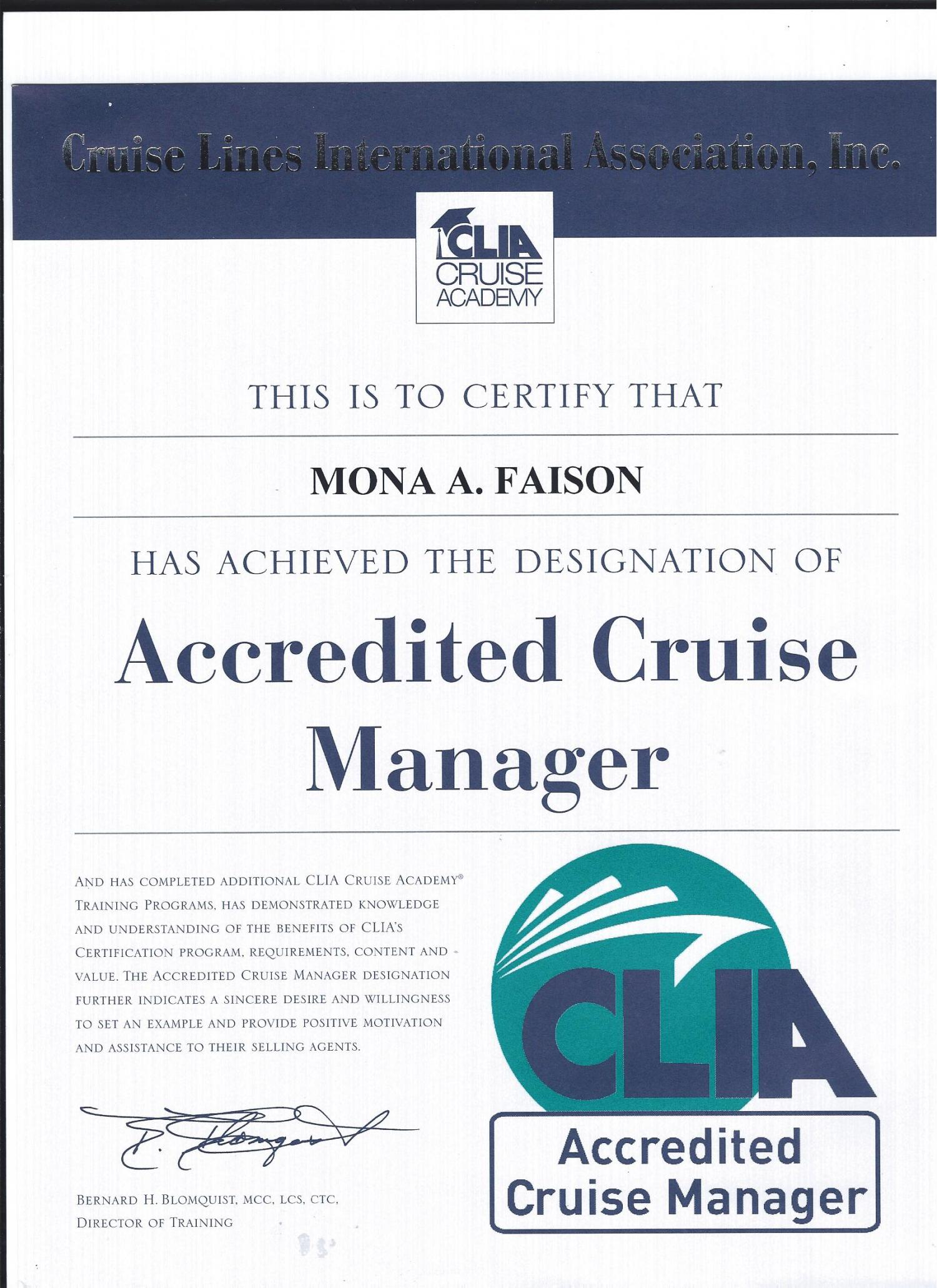 Accredited Cruise Manager